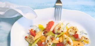 Gegrillte Calamari auf Melonensalat mit Joghurt-Minze-Dressing
