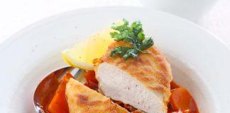 Schwarzwurzel-Gulasch mit gebackenem Hühnchen