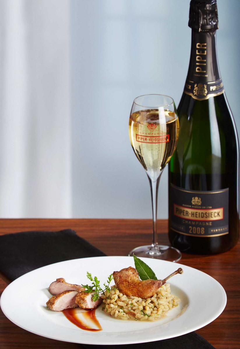 Champagnerdinner-Zwischengang: Wachtel mit Steinpilzrisotto