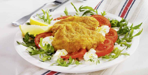Rucola Tomatensalat mit Curryfisch