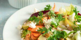 Salat mit südafrikanischen Birnen, warmer Rote Bete und gebratener Suzuk