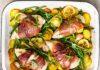 Hähnchen in Prosciutto mit Bohnen und Kartoffeln