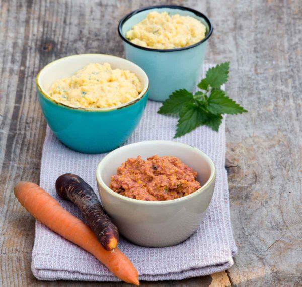 Karotten-Topfen-Aufstrich mit Brennnessel und Sesam